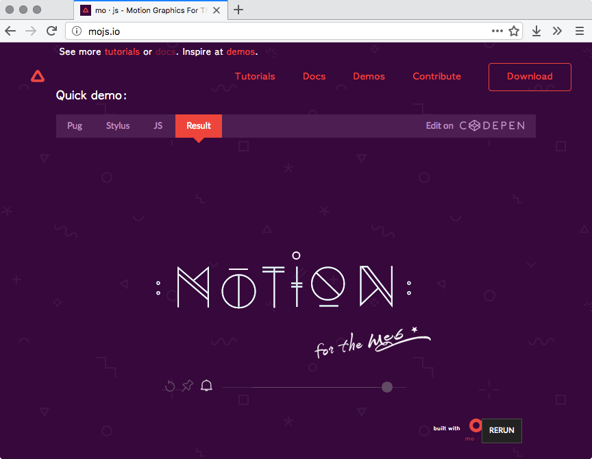 CodePen on mo.js